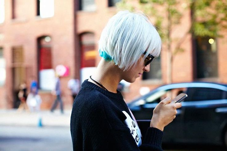 Teal under a short white hair. (only I would want purple or red under black)