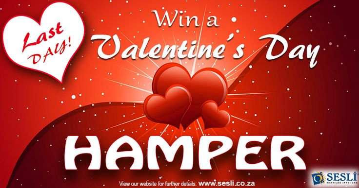 LAST DAY to enter and stand a chance of winning our fantastic Valentine's Hamper - HURRY before it's too late! Prize includes: a beverly blanket, a chenille throw, a picnic mat and a box of chocolates! All you have to do is spend R500 or more at our Factory shop to be entered in the draw. Competition closes TODAY!  FACTORY SHOP - 1090 Anvil Rd Robertville JHB   Tel: 011 674 3069; http://sesli.co.za/special-offer/specials