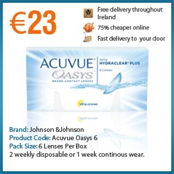 Johnson and Johnson Acuvue Oasys 2 weekly disposable daily wear lenses, 6 lenses per box, UVA and UVB eye protection. Comfortable and affordable contact lenses.