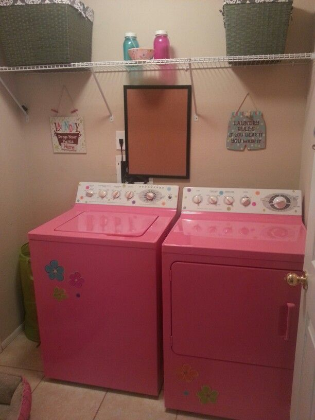 I SO want to paint my washer and dryer! Not pink but still it would be cool