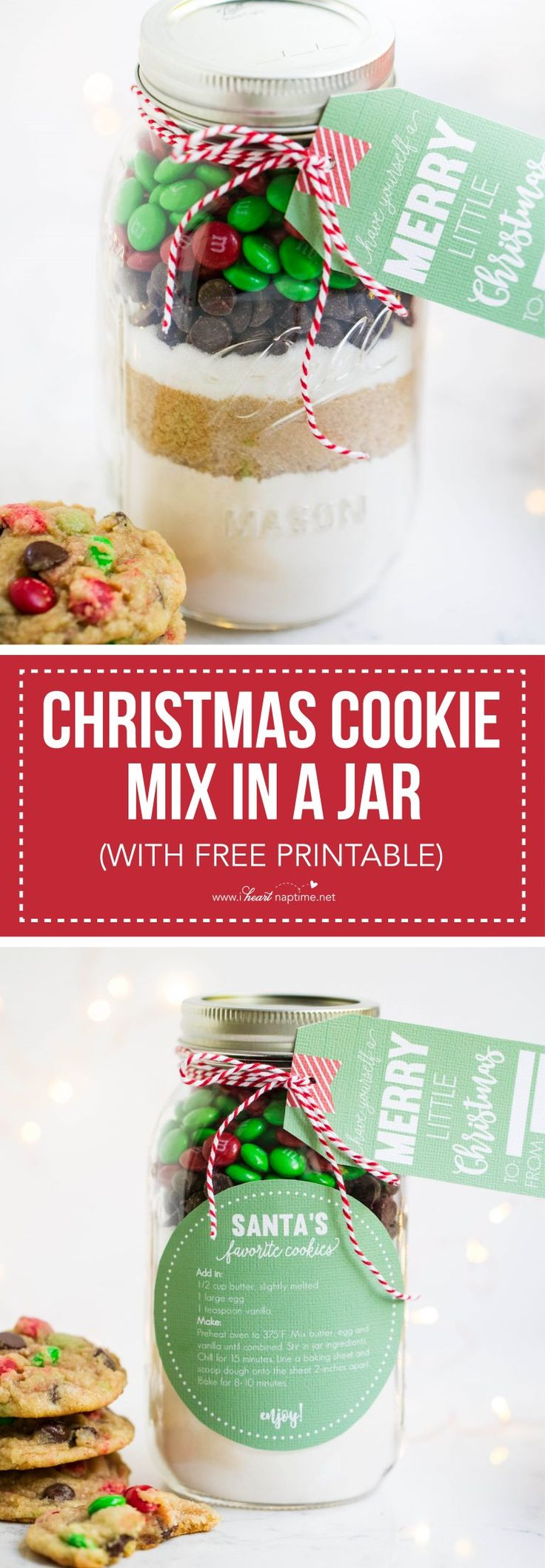 Layered cookie mix in a jar recipe that makes the perfect homemade Christmas gifts. These are always a big hit! Free printable tag and instructions included.