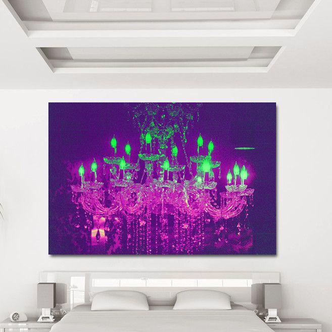 "Fluorescent Palace ""Liquid Chandelier Purple"" Canvas Art   AllModern"