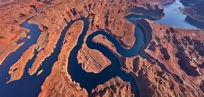 Lago Powell, Utah-Arizona, Estados Unidos. Vista aérea.