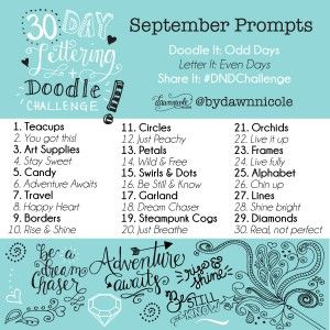 30 Day Lettering and Doodle Challenge: September Prompts by Dawn Nicole #DNDChallenge