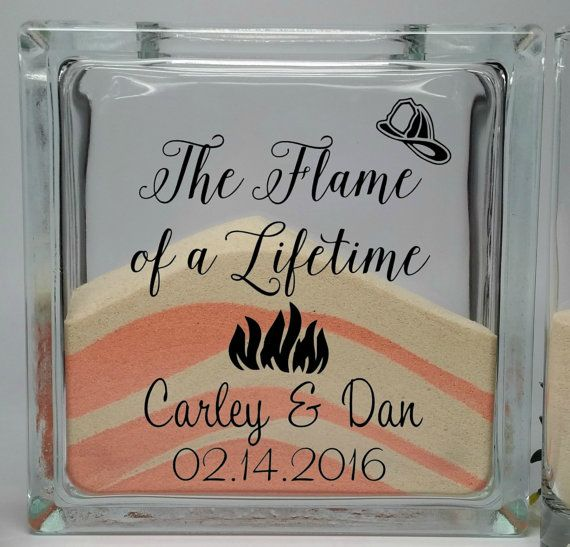 Firefighter Wedding Decor - Unity Sand Set - Fireman Wedding Theme - Unity Sand Ceremony Set - Unity Candle Set - The Flame of a Lifetime