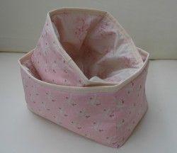 Pink & Cream floral storage baskets, set of 2