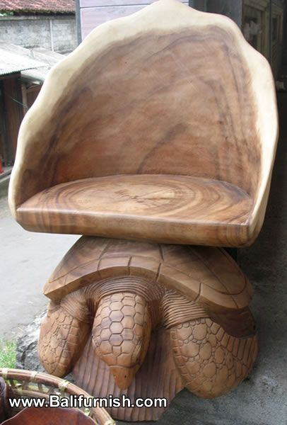 Carved Wood Turtle Chairs Furniture from Bali Indonesia Balinese wood carvings turtle by Kirsten J Sugarman