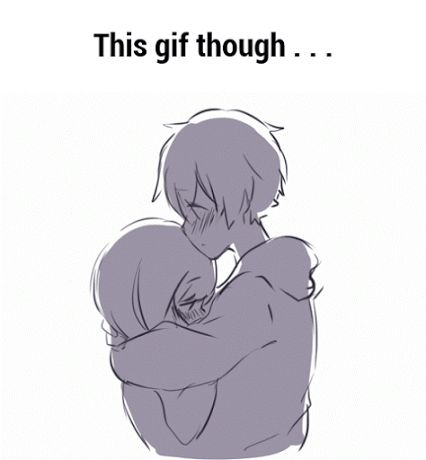 Anime Couple :: Animated :: Sketch :: Awhh~ :: Inner (I want to kiss you...) Outer (Doing it! Kiss~)