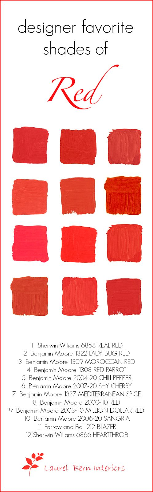 Designers 12 Favorite Shades of Red Paint- laurel home | check out my list of tried-and-true shades of red paint. Nine of them are by #benjaminmoore