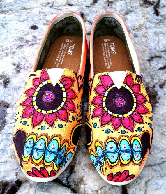Made to Order Custom Painted TOMS Sugar Skull by TheMermaidsChest, $175.00