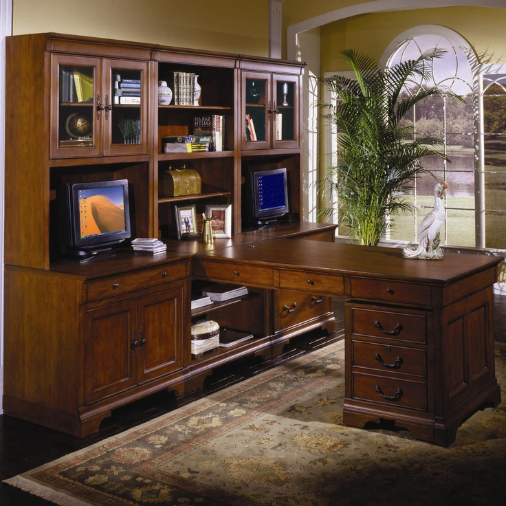 Chateau de vin spacious executive wall t desk by aspenhome becker furniture world l shape - Office furniture retailers ...