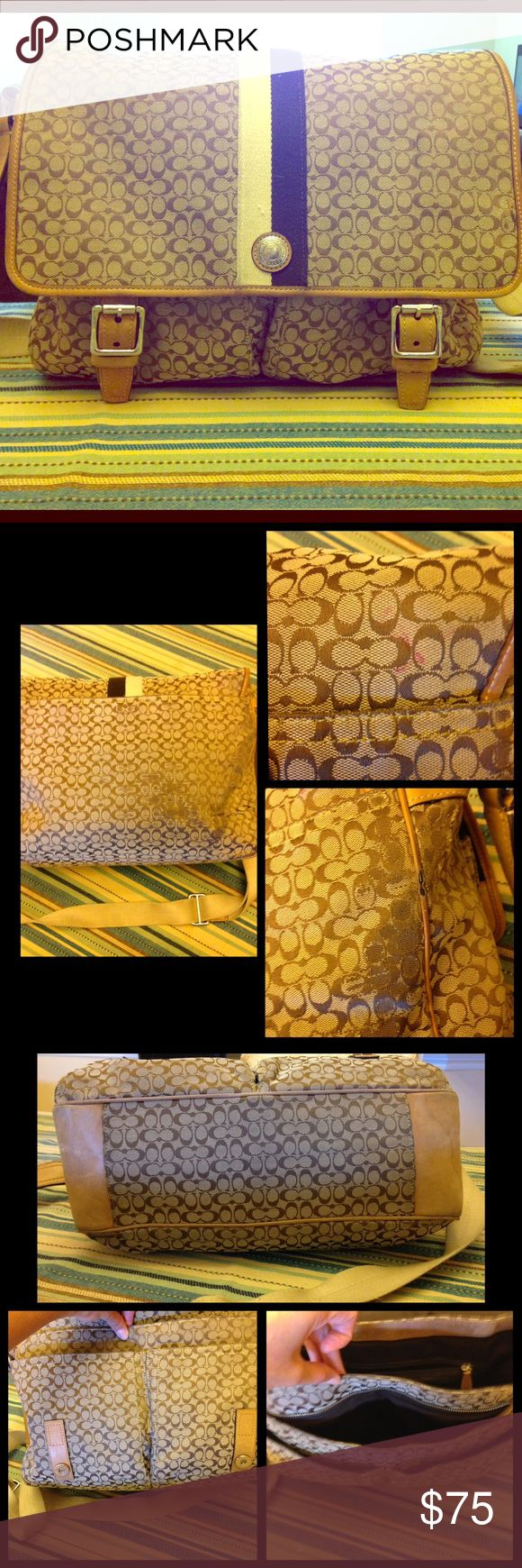 Authentic Coach Messenger Bag Beautiful but very preloved Coach messenger bag.  I have tried to show areas of significant wear and tear- please refer to pictures and don't hesitate to inquire further!  The bag features multiple pockets front, back and interior to house all of your work or school essentials. The back shows most wear- the canvas Signature C's have worn off in some areas; there are pen marks in a few places; and one small area shows wear the leather piping has been damaged…