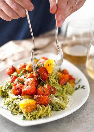 pesto spaghetti squash with roasted tomatoes | ahappyfooddance.com
