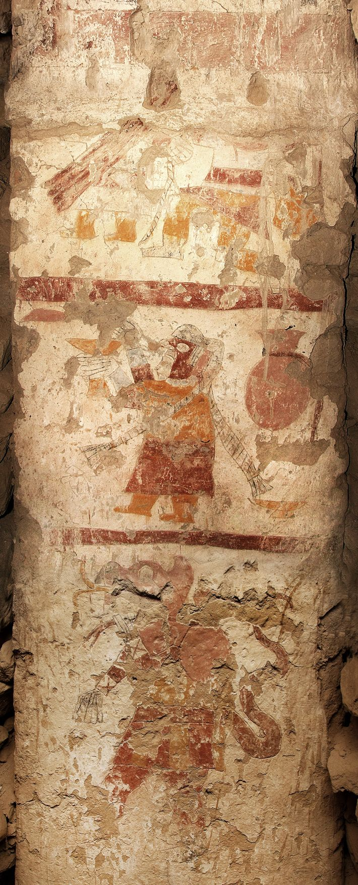 A pillar in the Temple of the Painted Pillars bears three vignettes (top to bottom): a female and a kneeling warrior, a priestess standing in front of a large, red jar, lifting a yellow goblet, and a zoomorphic figure composed of a human, feline, or fox with serpentine features.