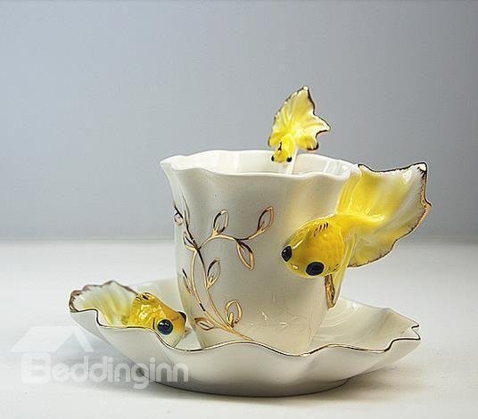 New Arrival Stylish Vivid Golden Fish Coffee Cup - beddinginn.com