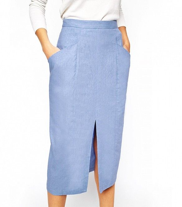 ASOS Linen Split Front Pencil Skirt in Light Blue