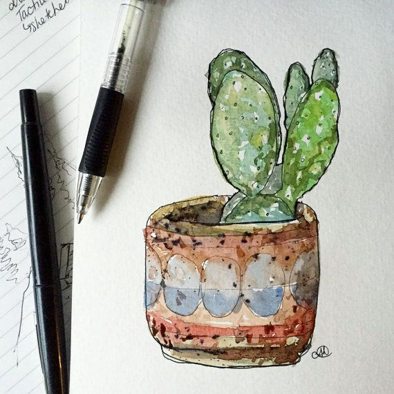 Plant Illustration Cactus and Textured Planter by okdraw on Etsy