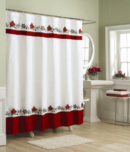 "NEW Holly Shower Curtain 70 x 72"" Multicolored Christmas Bathroom Holiday Red #Holiday"
