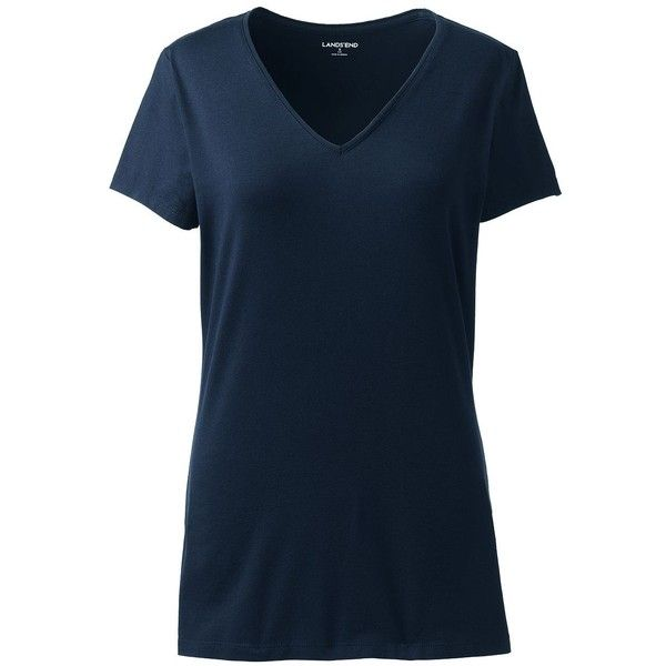Lands' End Women's Petite Shaped Layering V-neck Tee ($20) ❤ liked on Polyvore featuring tops, t-shirts, blue, vneck t shirts, stretch t shirt, petite t shirts, double layer t shirt and v-neck tops