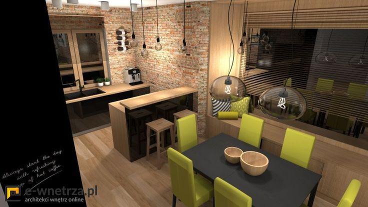 """Kuchnia 2 :) Salon i kuchnia z nutką klimatu loftowego.  Godziszewo 2014r. Duża przestrzeń domu jednorodzinnego miała trochę przypominać loft. Niestety nie mamy tu zbyt dużej wysokosci pomieszczenia, charakterystycznej dla wnętrz loftowych. Udało się jednak przemycić trochę akcentów nadających odpowiedni """"klimat"""" we wnętrzu :)"""