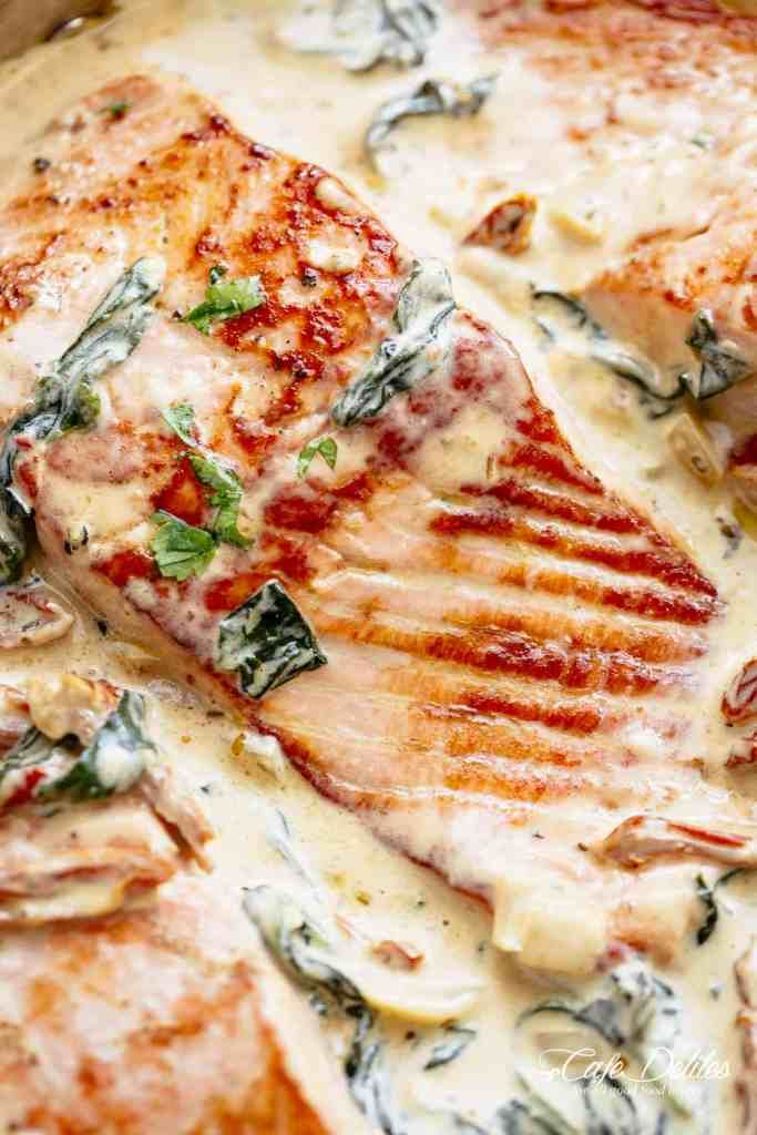 Creamy Garlic Butter Tuscan Salmon Https Cafedelites Com