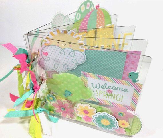 Primavera Scrapbook acrílico Mini álbum DIY kit o familia