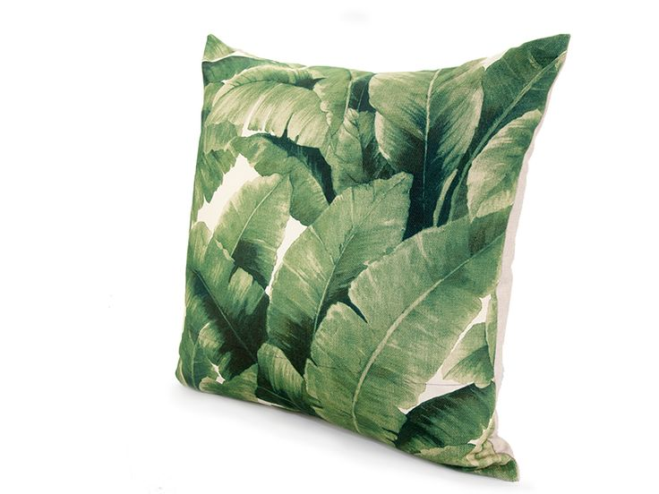 Tropical Leaf Emerald Green from www.designarthouse.com.au.  Add a touch of the tropics with this fresh and inviting leaf print cushion.  Pair this fabulous print with black and white for a contemporary look or mix these leafy patterns with velvet, polished metals and bright colors. An eye-catching design to liven up any living space or bedroom.Woven linen cloth print fabric with a plain canvas backing.   Dimensions: 50cm x 50cm   Includes insert.