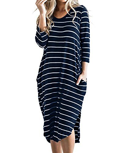 d3bc77fd56d1 CNFIO Women s Short Sleeve Stripes T Shirt Dress Oversize... https