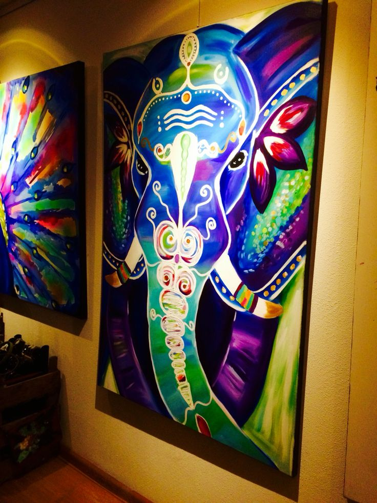 Cool painting idea, so vibrant! Bohemian elephant art painting www.artisoof.nl Please also visit www.JustForYouPropheticArt.com for more colorful art ideas. Pin as much as you like. Thanks for looking!