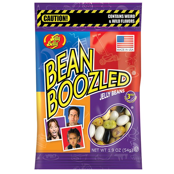 A bulk box of Jelly Belly Bean Boozled Bags.