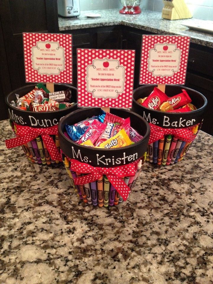 'Teacher Appreciation Treats' for Scarlett's teachers! Black painted flower pots with crayons glued to side with an attached bow. Teachers name is painted onto the flower pot. Add in teachers favorite sweet treats. Label reads: SWEETS, SWEETS, SWEETS... for you to enjoy on 'Teacher Appreciation Week'! Thank you for all the SWEET things you do!