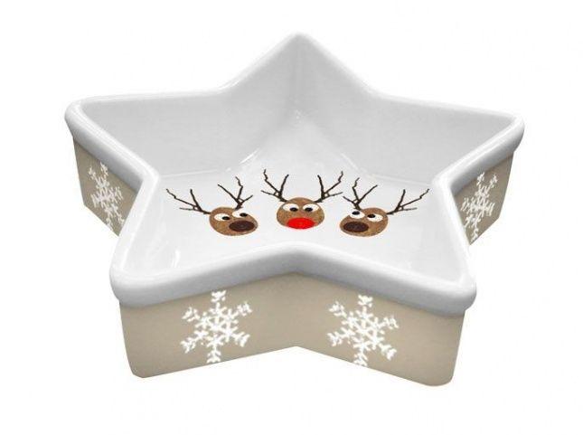 Miseczka Reindeers  Urocza miseczka z reniferami. Wykonana z porcelany. Można myć w zmywarce. Idealna na słodkie i słone przekąski. Polecamy na prezent. Sz