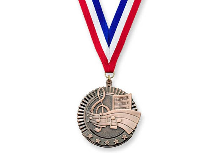 """2 3/4"""" BRONZE MUSIC MEDALLION - 2 ¾"""" medal with 30"""" ribbon."""