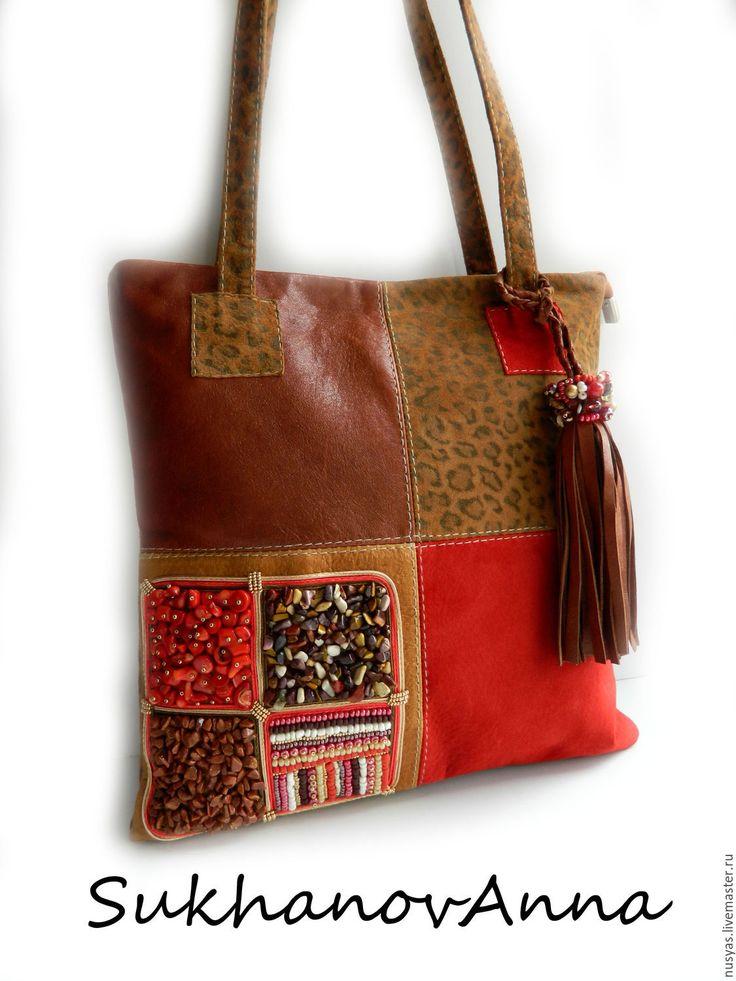 """Купить Сумка """"Городская амазонка"""" - коричневый, красно-коричевый, леопард, леопардовый, сумка комбинированная"""