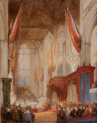 De inhuldiging van Koning Willem III in de Nieuwe Kerk te Amsterdam op 12 mei 1849, zoals vastgelegd in een aquarel door  de vermaarde schilder van kerkinterieurs Johannes Bosboom (1817-1891). De decoratie van de kerk was vrijwel gelijk aan die bij inhuldiging van Koning Willem II op 12 november 1840. © Koninklijk Huisarchief
