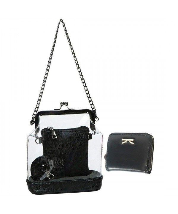 b4b8323127d Women's 2-in-1 Transparent Clear Bag Shoulder Crossbody Purse + ...