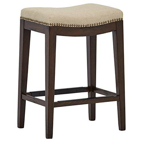 Stone Beam Elden Nailhead Saddle Kitchen Counter Backless Bar Stool 26 Inch Height Hemp Beige Wood With Images Counter Stools Stool Counter Stools Backless