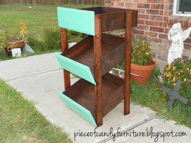 Repurposed Drawers made into Shelf painted Bright Teal Green and stained the outer shell.