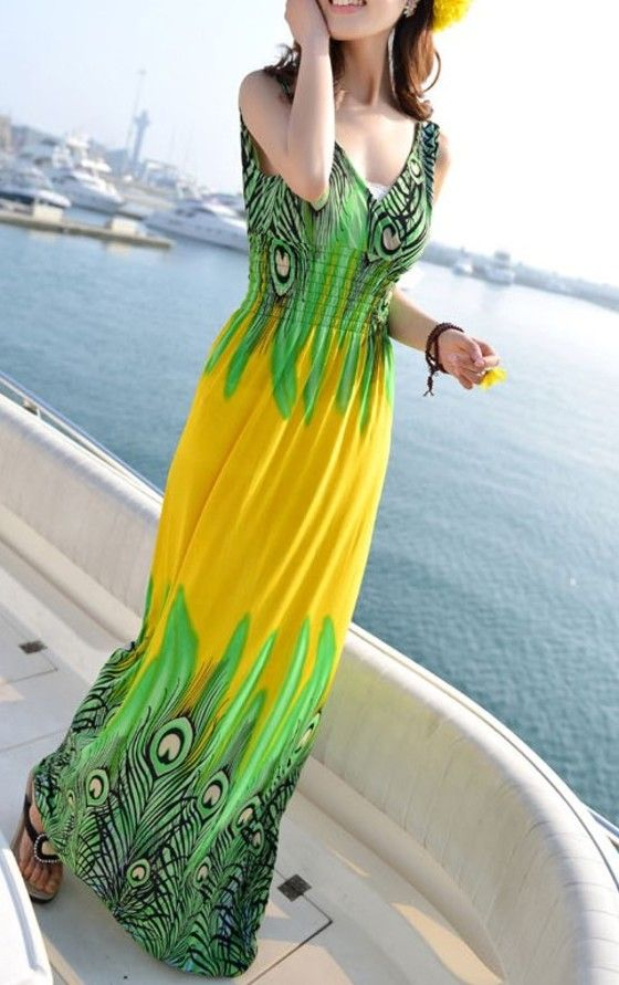 Shopo.in : Buy Mod Fashions Partywear Yellow Printed Maxi Dress online at best price in Bangalore, India