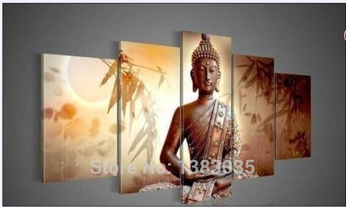 Ручная Роспись Абстрактные Портреты Картины Бамбук Будда Холсте Маслом фотографии На Стене 5 Шт. Современная Гостиная Декор набор