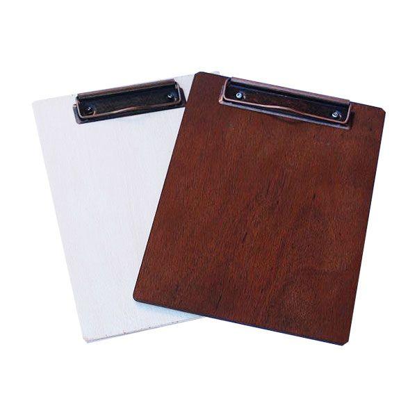 Small wooden clipboards for restaurant menu in antique white or walnut