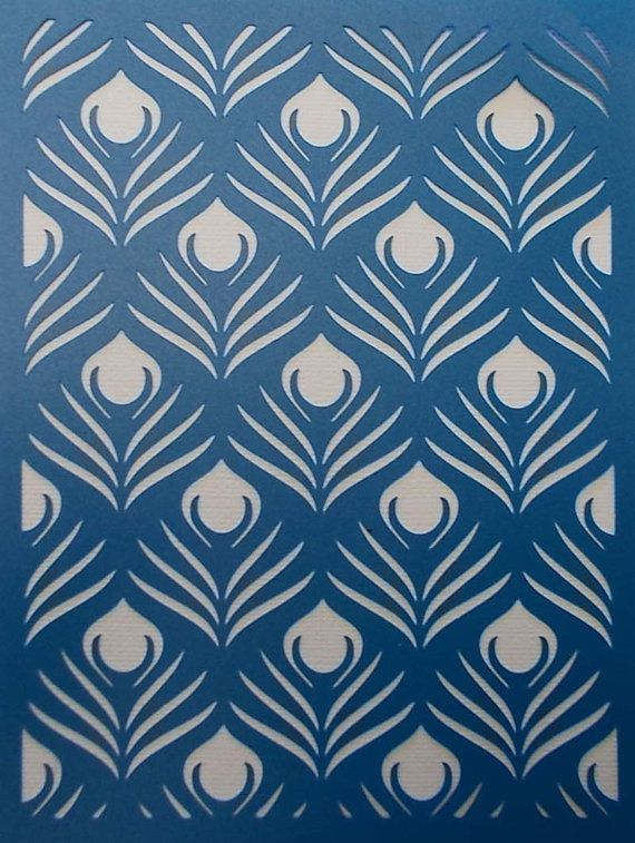 Peacock Feather Background Stencil by kraftkutz on Etsy