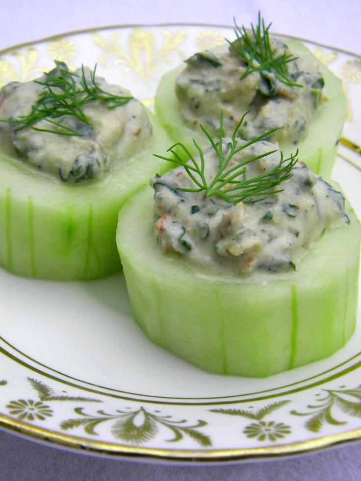 Spinach Dip in mini cucumber bowls.