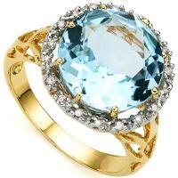 LOVELY !  7.82 CARAT BABY SWISS BLUE TOPAZ & (18 PCS) DIAMOND 10KT SOLID GOLD RING