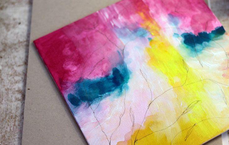 A farba sa rozpila Vo vnútri steká po tvári drobná a modrá tak ako nebo je . blízko v nás Lu. maľba na malé plátno 20x20cm, akrylové farby a tužka.