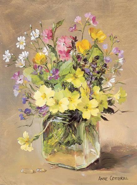 April Flowers - Birthday Card | Mill House Fine Art – Publishers of Anne Cotterill Flower Art