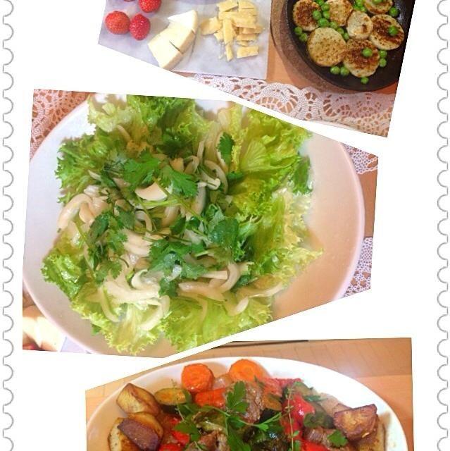 ラムには、香菜! - 9件のもぐもぐ - ゆうべの晩御飯。前菜は山芋ソテー、神楽坂で買った36か月パルミジャーノ、香菜サラダ、ラムのベッコフ。 by kaosaku