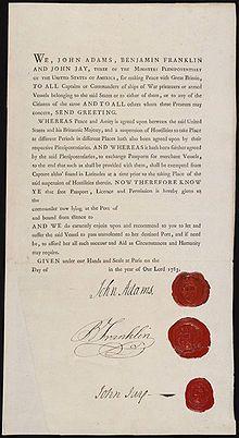 "JOHN ADAMS | ""Passport for ministers plenipotentiary John Adams, Benjamin Franklin, and John Jay for safe passage to negotiate treaties, 1783."""