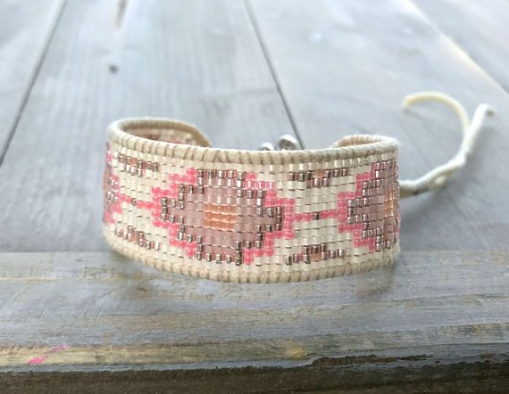 Coral and Peach Southwestern Style Bead Loom Woven Bracelet