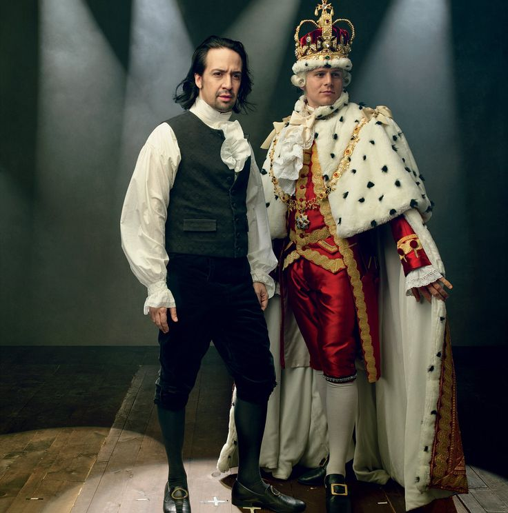 Follow the Leader - The show's star and creator, Lin-Manuel Miranda, as Alexander Hamilton, with Jonathan Groff, who plays King George III.